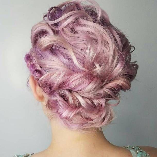 Pink Purple Blonde Hair Style Wrap Around Braid Messy Wavy Hair