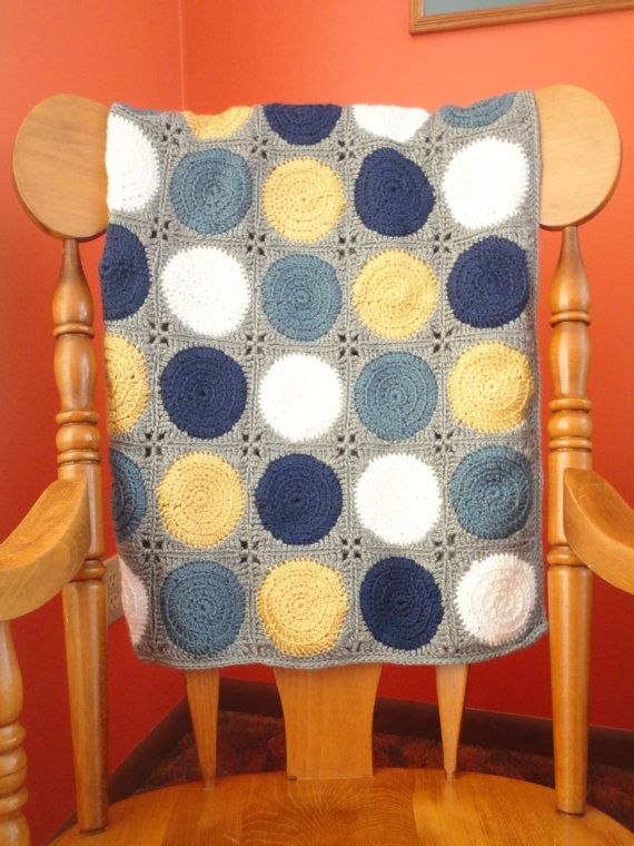 Mod Dot Crochet Baby Blanket Neutral Boy Navy Country Blue Light Mustard Yellow And White With Gray Border Baby Blanket Crochet Crochet Baby Crochet Blanket Boy