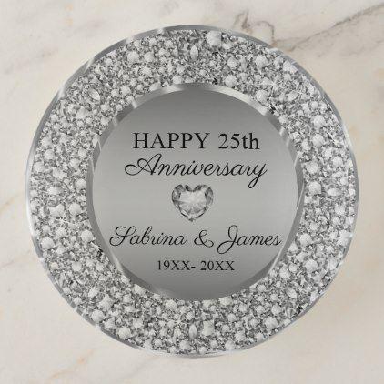 Silver Diamonds 25th Wedding Anniversary Trinket Trays Zazzle Com 25th Wedding Anniversary Silver Diamonds 25th Anniversary Gifts