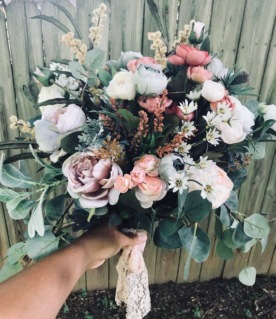 Boho Bouquet, Wedding Bouquet, Rustic Bouquet, Wildflower Bouquet, Eucalyptus Bouquet, Bohemian Bridal Bouquet, Large Bouquet, Fall Bouquet #fallbridalbouquets