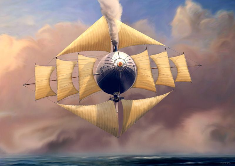 Four-masted airship with steam power