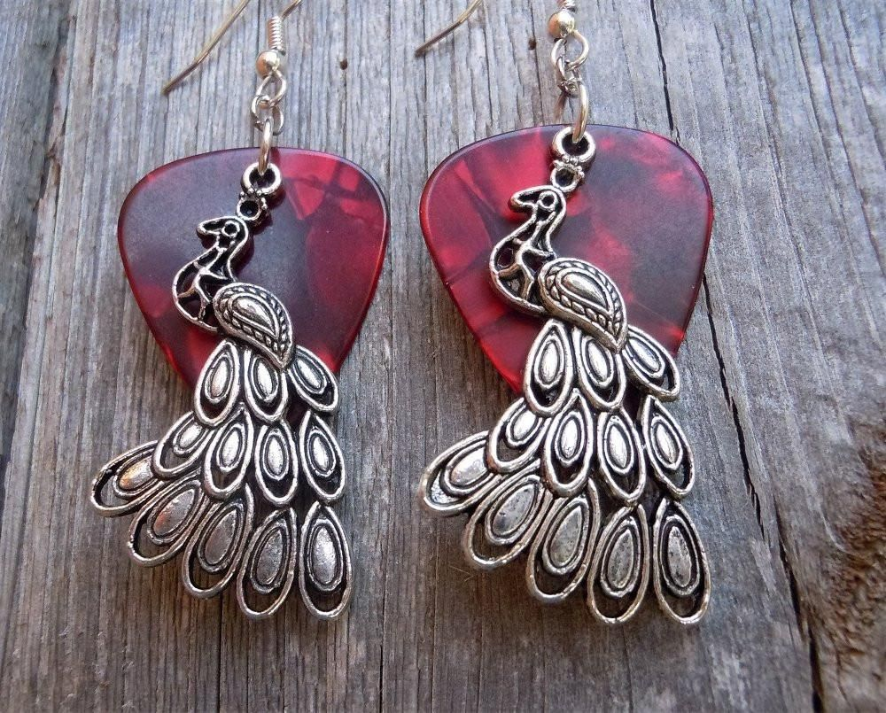 Peacock Charm Guitar Pick Earrings - Pick Your Color