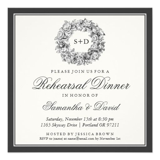 Rehearsal Dinner Vintage Floral Monogram Black Personalized Announcement
