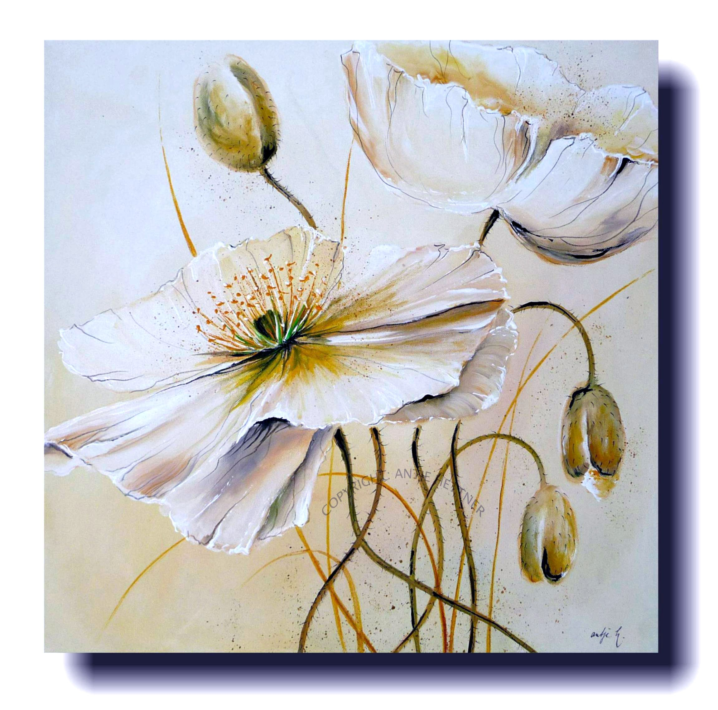 Poppies Like White Coffee Acrylic Art On Canvas Blumen Malen Blumen Malen Acryl Blumen Kunst