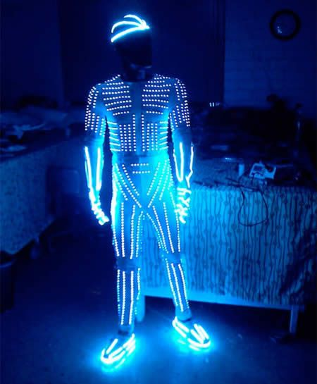 Illuminated Halloween Costume Made Out Of 2500 Bright Led Lights Crazy Halloween Costumes Led Costume Light Up Costumes