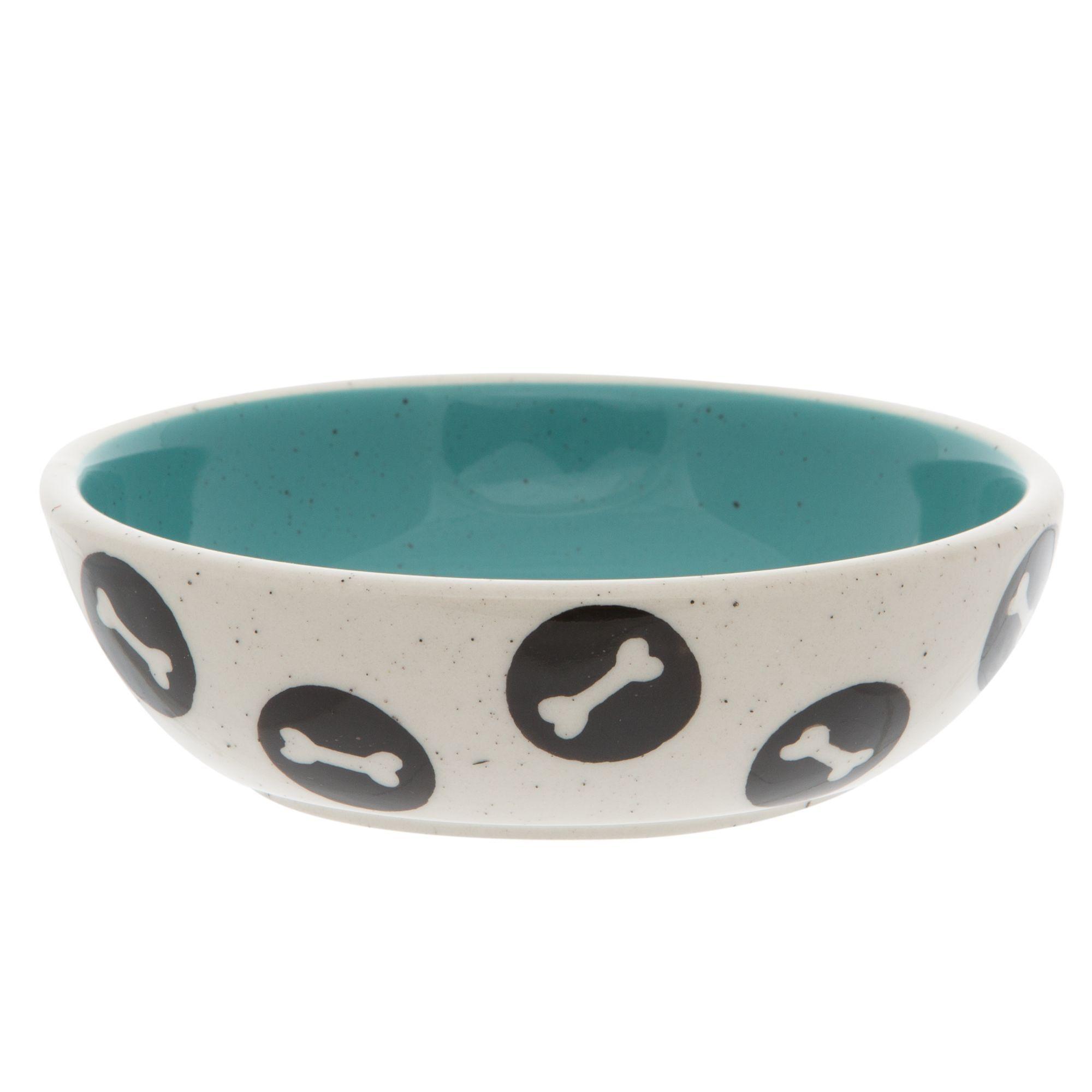 Top Paw Black Bones Dog Bowl, Blue in 2020 Dog bowls