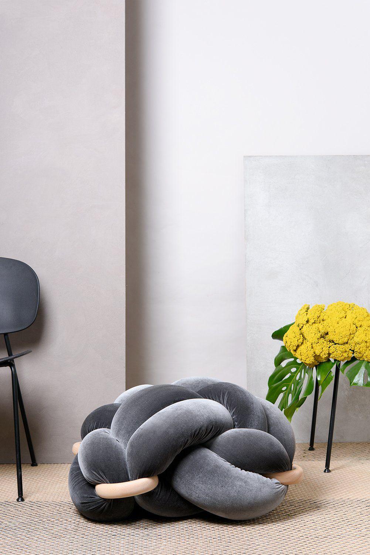 L velvet grey knot floor cushion design pinterest knot