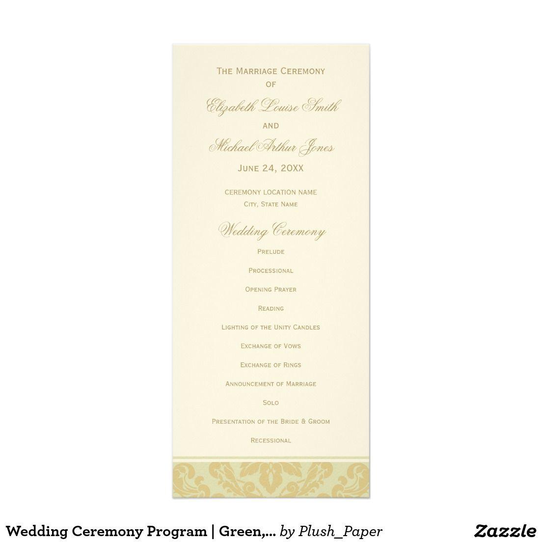 Wedding Ceremony Program | Green, Ivory, Gold | Ceremony programs ...