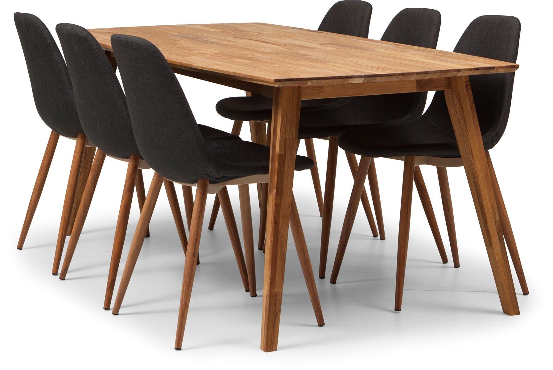 Enjoy matbord+6 stolar i oljad ek. Stol klädd i grått tyg