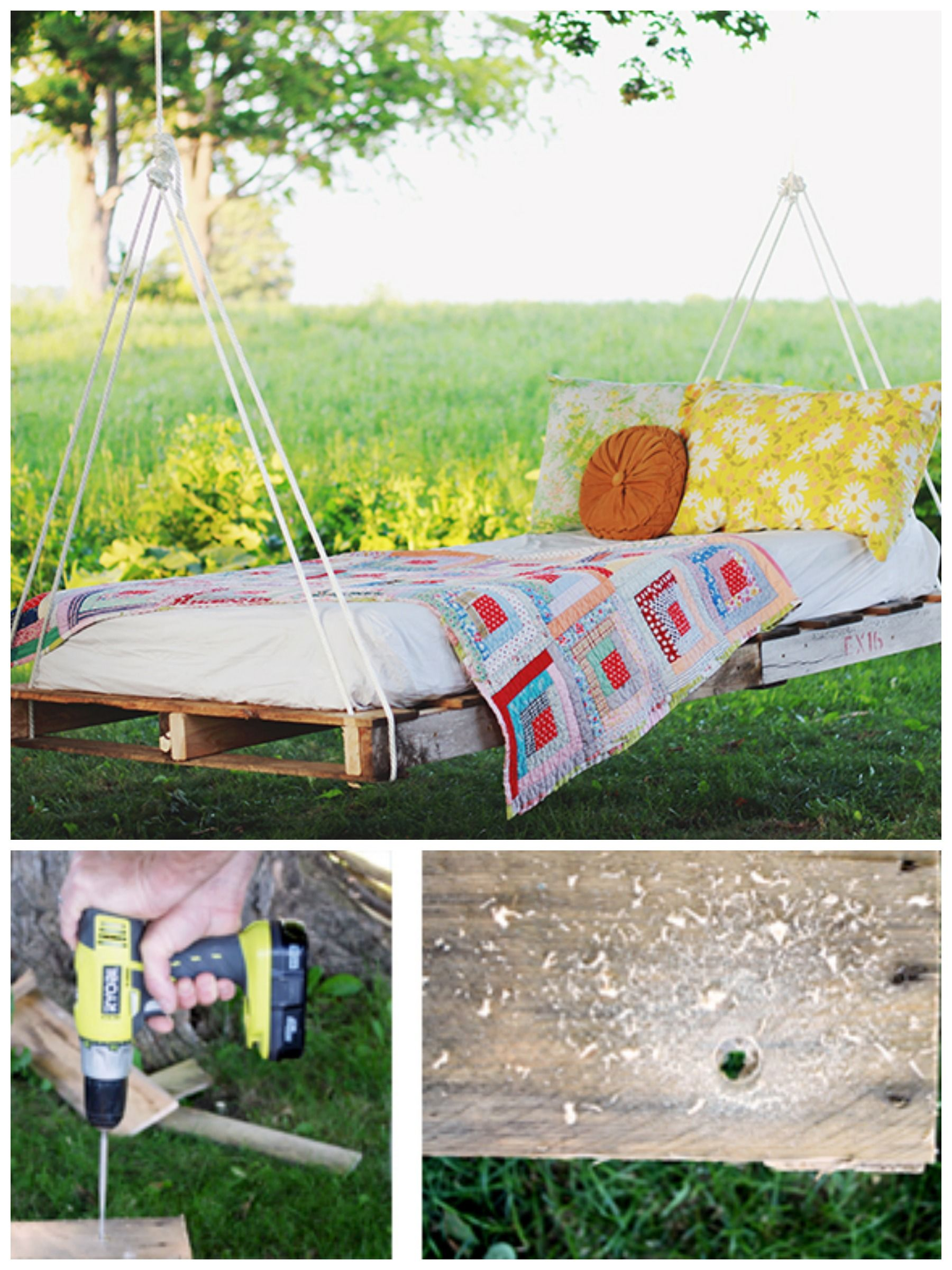 DIY Pallet Hammock Idea Pallet swing beds, Pallet diy