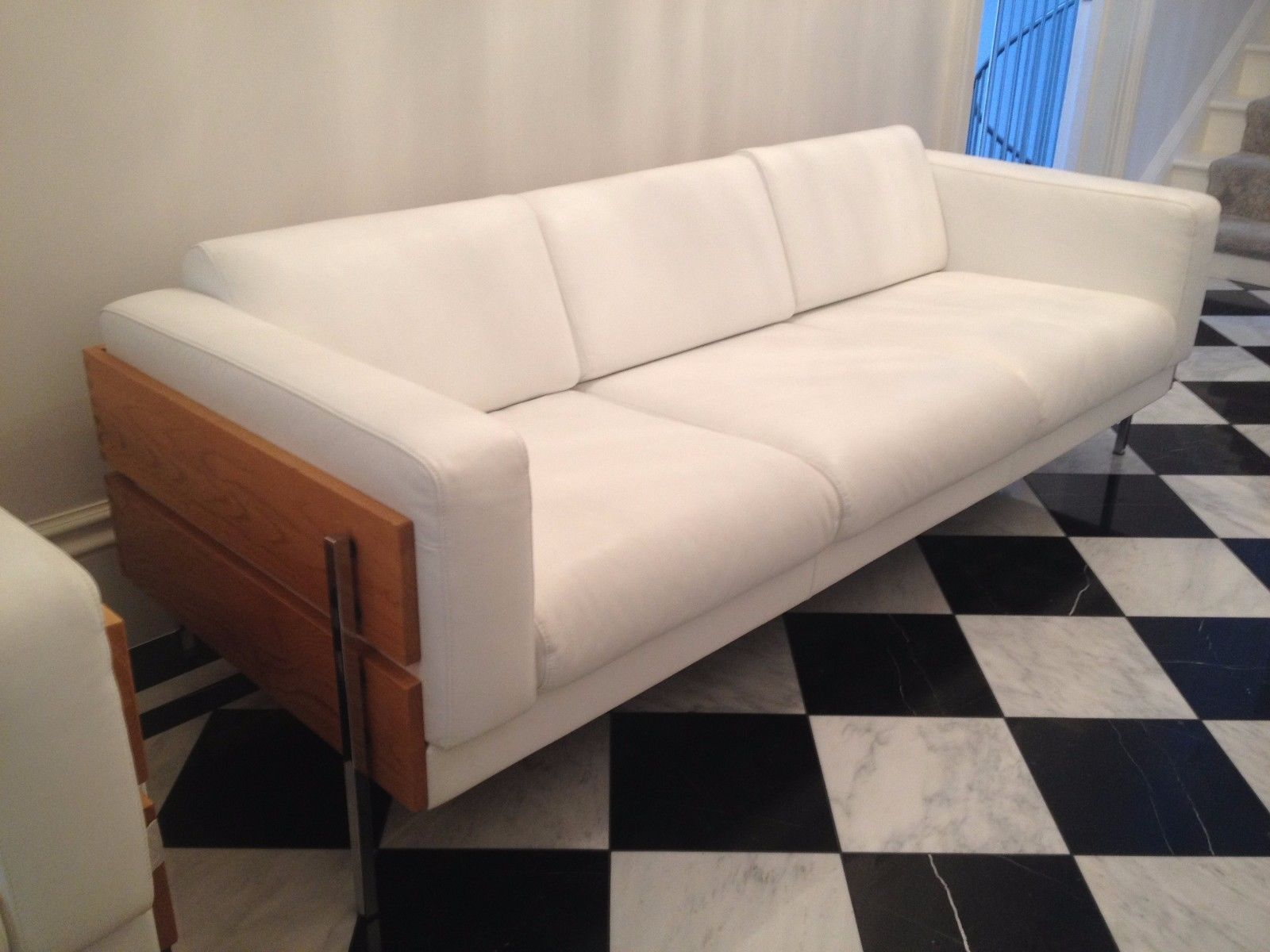 Stunning Habitat Robin Day Days Forum Rare White Leather Oak 3 Seat Sofa Ebay