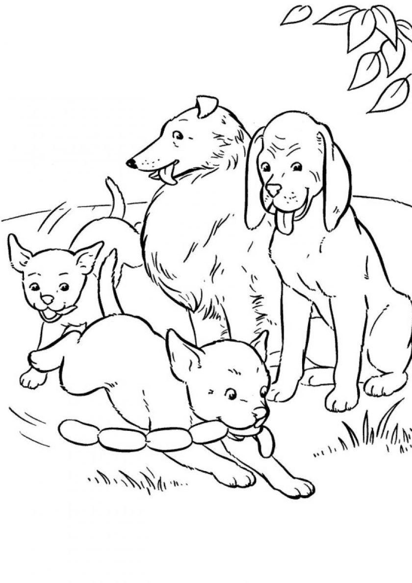 The Family Of Dogs High Quality Free Coloring Page From The Category Dogs And Puppies More Printable Dog Coloring Page Coloring Pages Animal Coloring Page