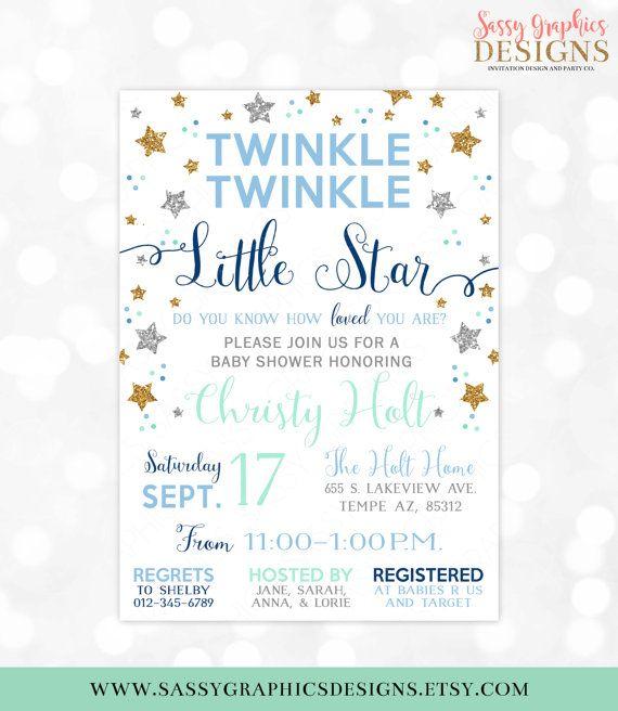 twinkle twinkle little star baby shower invitation baby boy gold, Baby shower invitations