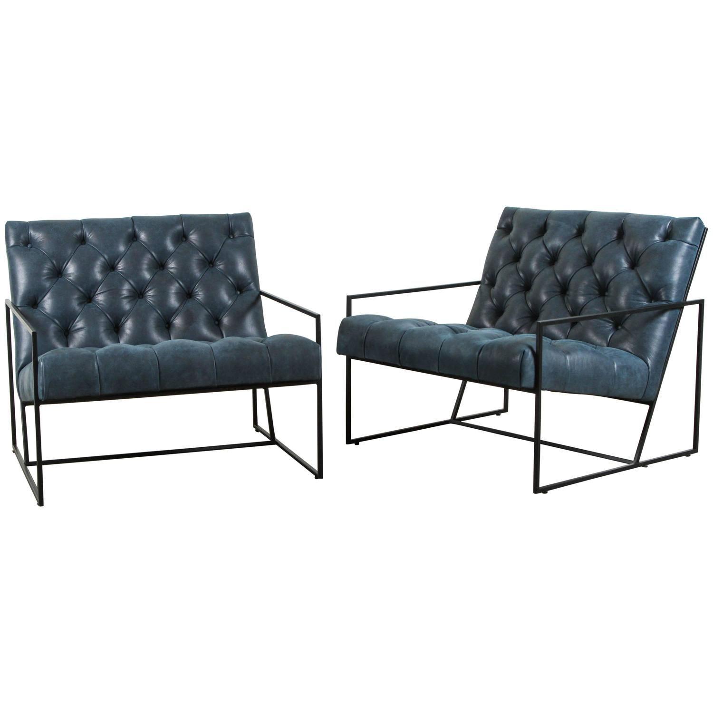 Diamond Tufted Thin Frame Lounge Chair By Lawson Fenning