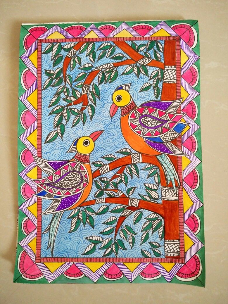 Madhubani Painting Done Using Drawing Ink Kalamkari Painting Indian Art Paintings Madhubani Painting
