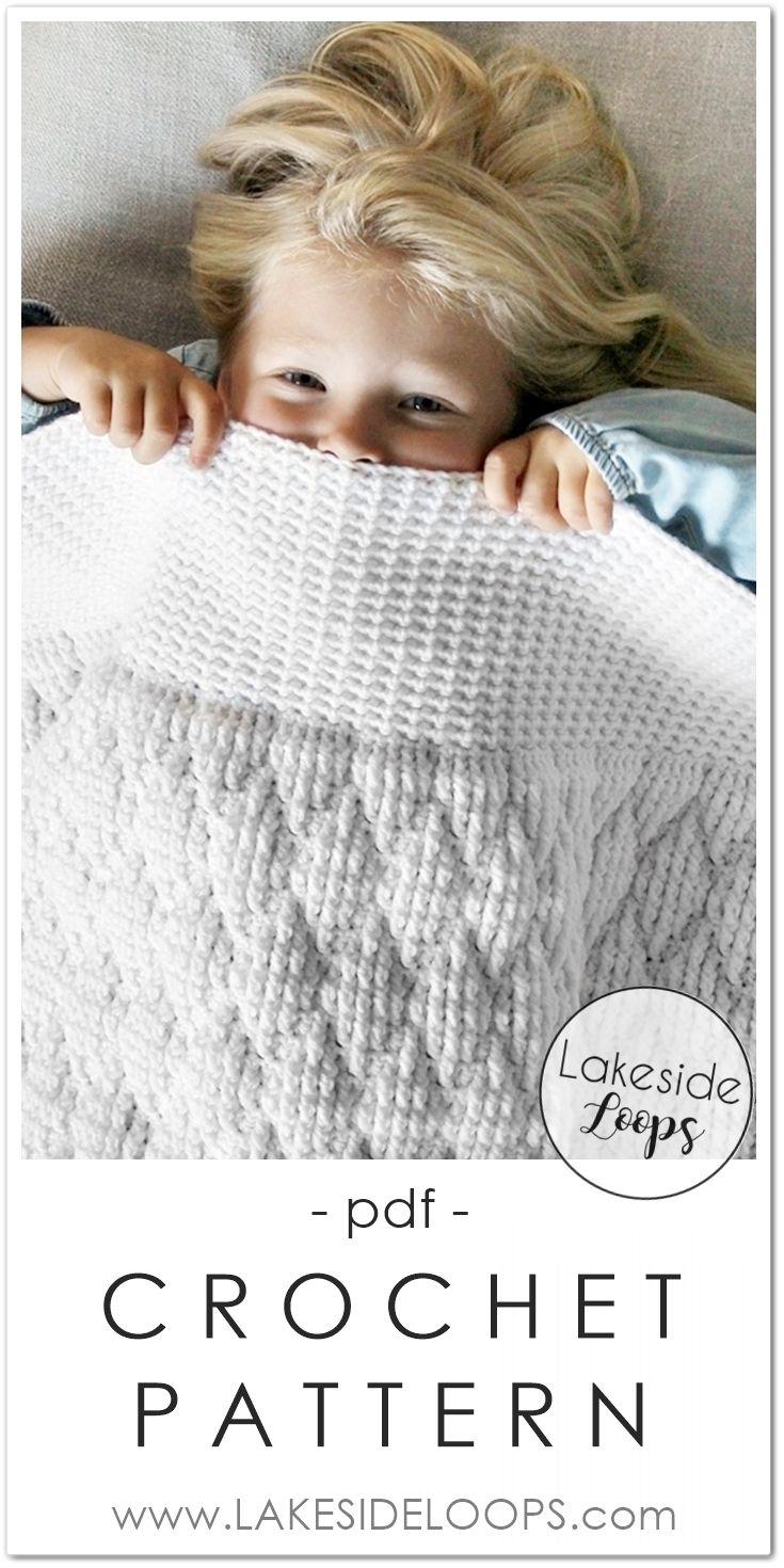 This modern & plush crochet blanket design creates a quilt-look ...