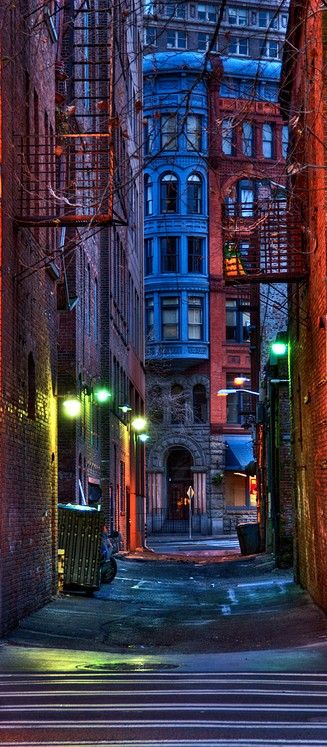 An alley at dusk in historic Pioneer Square ~ Seattle, Washington • photo: Shelly Alexander on deviantart