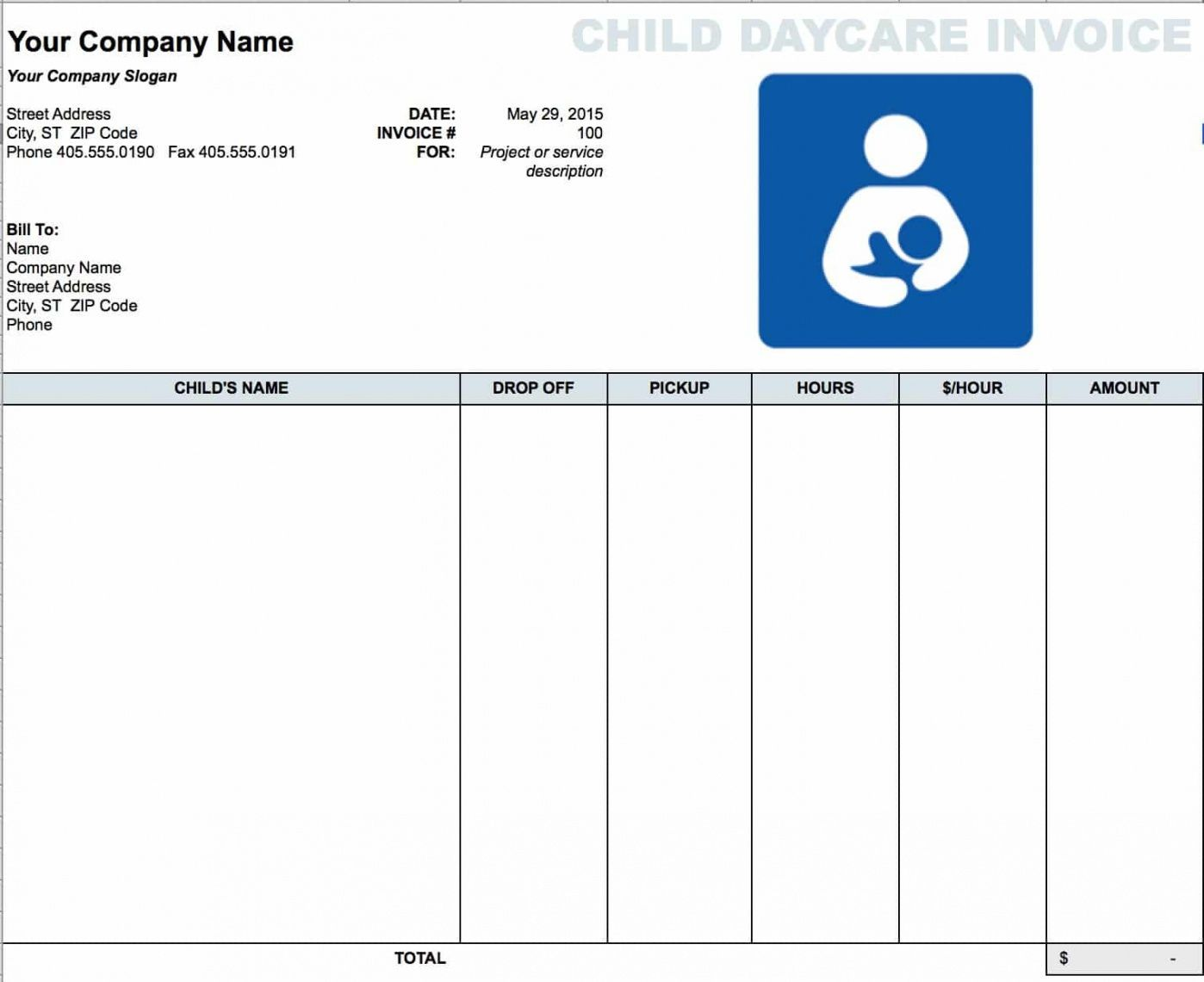 Get Our Image Of Child Care Bill Template Invoice Template Invoice Template Word Statement Template