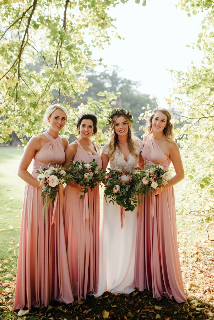 Pink multiway bridesmaid dress  Blush u Gold Autumn Wedding at Drenagh Estate in NI with Suzanne