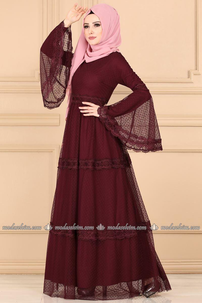 Volan Kol Tul Elbise 5151ay342 Bordo Modaselvim Elbise Kiyafet Islami Giyim