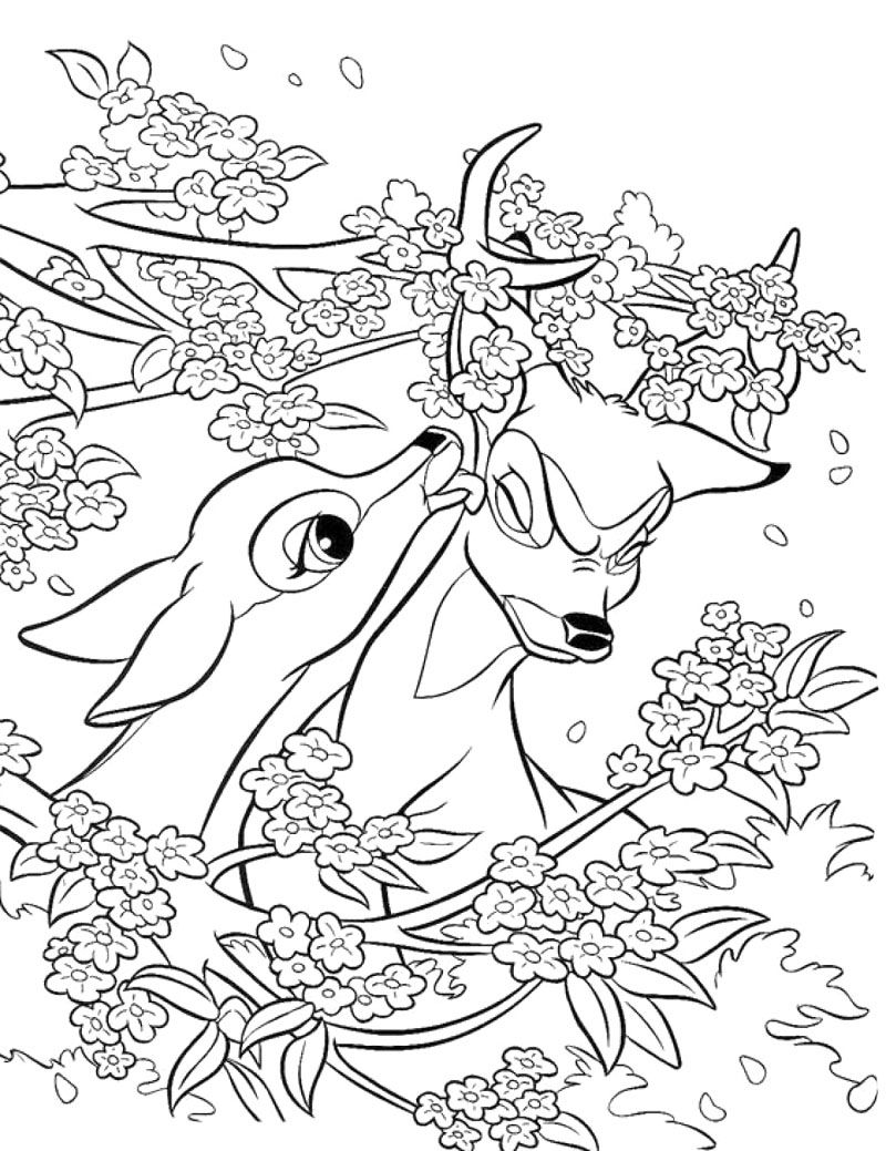 Faline And Bambi Coloring Page Disney Coloring Pages Animal