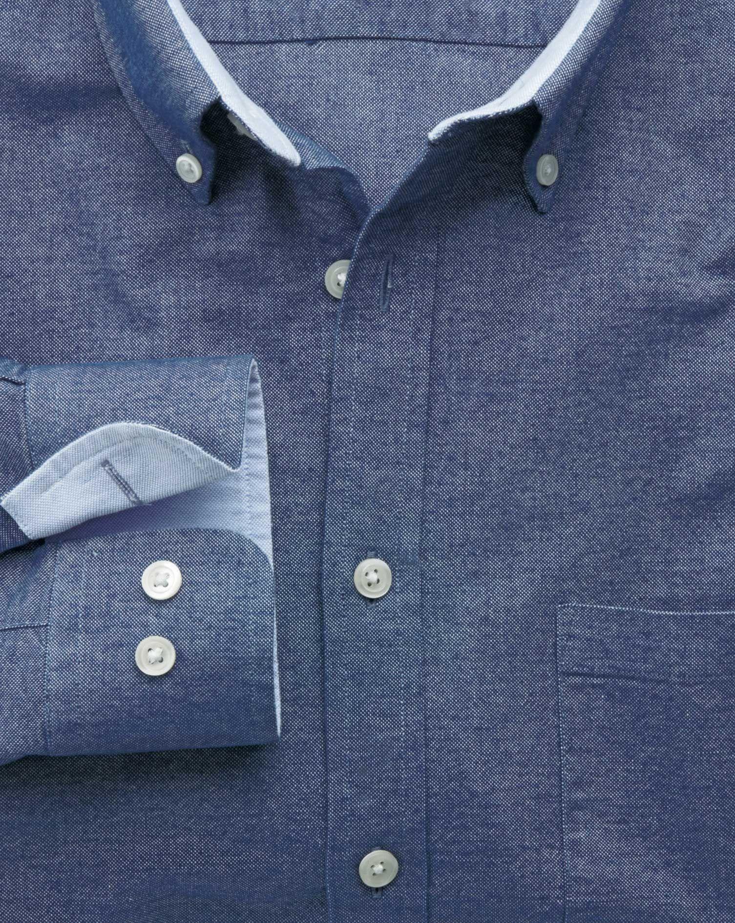 Classic fit denim blue washed Oxford shirt