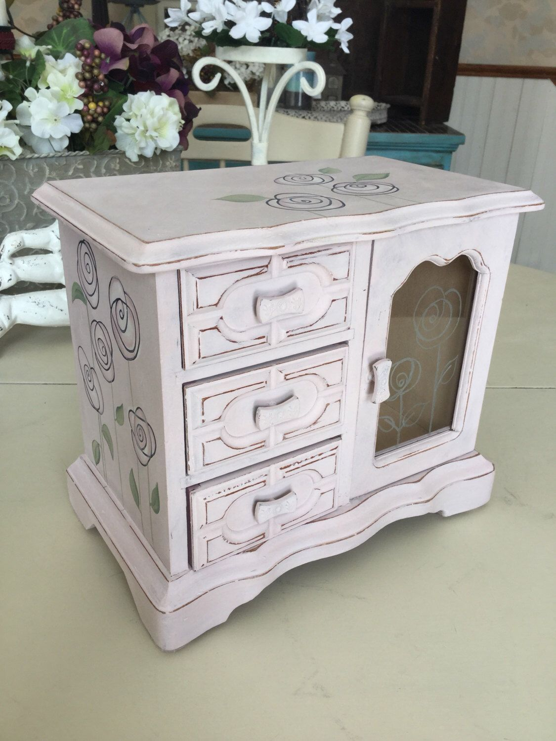 Painted Vintage Jewelry Box Wooden Shabby Chic Jewelry Box OOAK