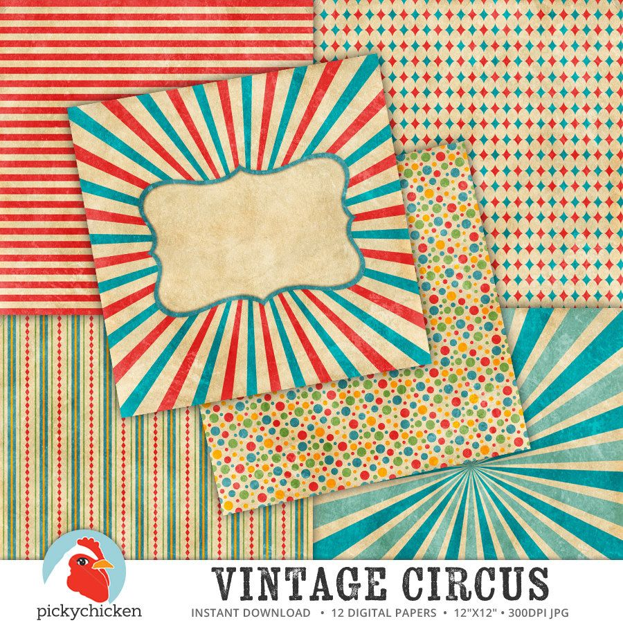 circus digital paper vintage circus carnival by pickychicken