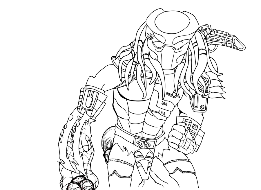 Alien vs Predator Coloring Pages Predator Line Art by