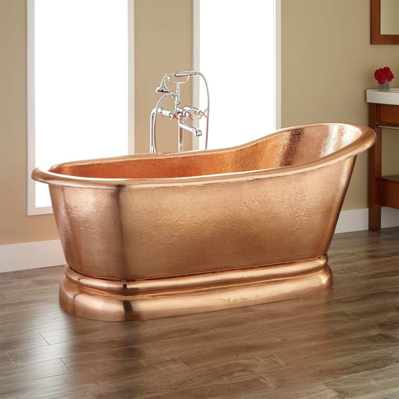 Paxton Polished Copper Slipper Pedestal Tub - Bathtubs - Bathroom ...