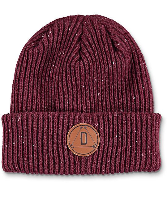 9e344955574 Update your modern style with the Porter burgundy fold over beanie from  Dravus. This epple maroon beanie features a leather Dravus circular patch  on the ...