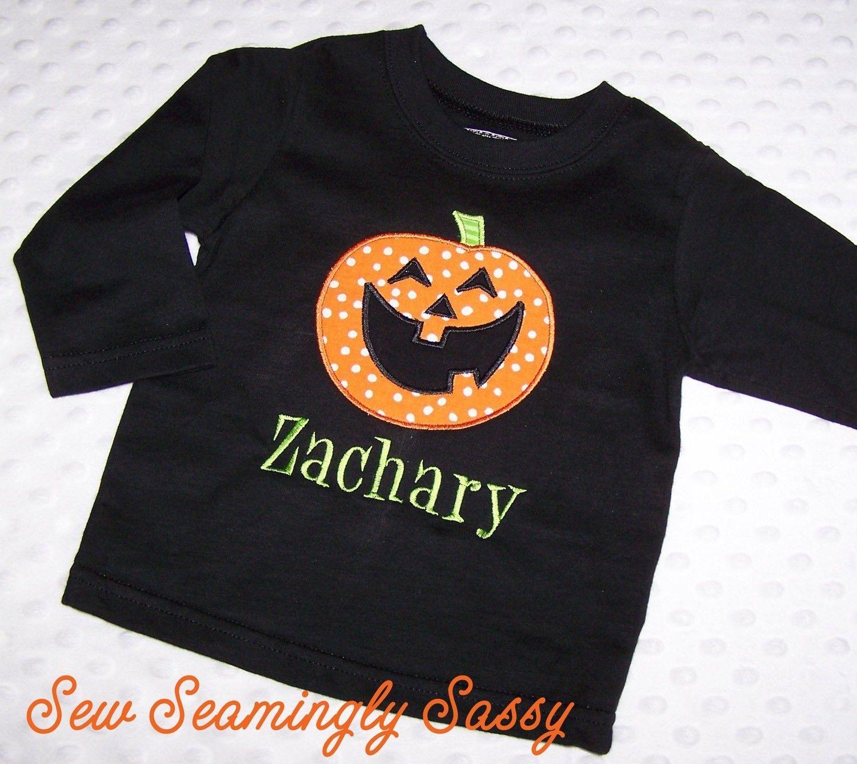 Sale boys halloween applique jack o lantern shirt for Applique shirts for sale