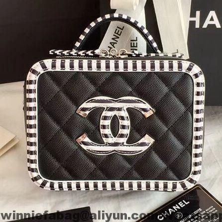 8db797016c5f Chanel Striped CC Filigree Mini Vanity Case Bag A93342 2019 | Chanel ...