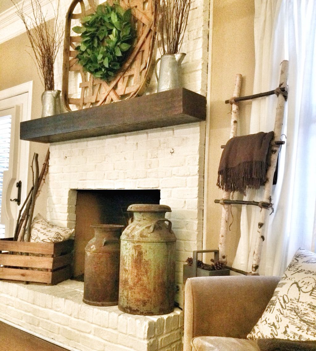 Rustic painted fireplace bless this nest blog for Decor over fireplace