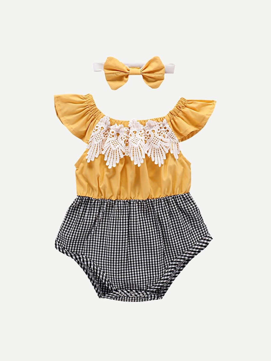 17f0e37d3 Toddler Girls Contrast Lace Romper With Headband -SheIn(Sheinside ...