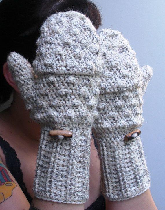 Convertible crochet fingerless glove mittens in Oatmeal by luvbuzz ...