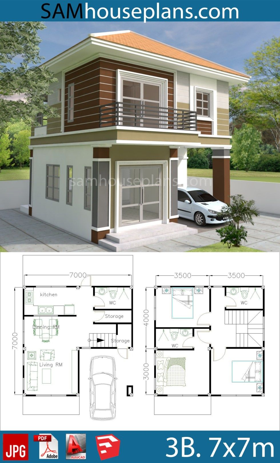 House Plans 7x7m with 3 Bedrooms is part of Home design plan - In link download ground floor jpg, Pdf 3d photo   Sketchup file in Meter Autocad file (Layout plan)