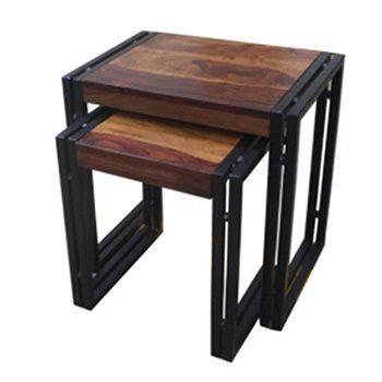 Timbergirl Reclaimed Seesham Wood/ Blackened Iron 2 Piece Nesting Table Set  (India)