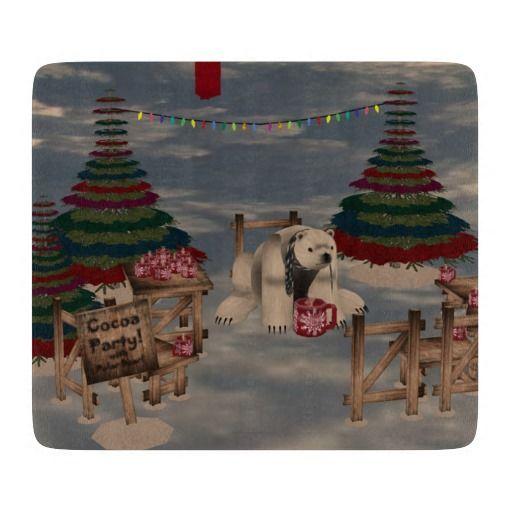 Polar Bear Cutting Board http://www.zazzle.com/polar_bear_cutting_board-256004276063492514?rf=238271513374472230  #christmas  #christmasdécor