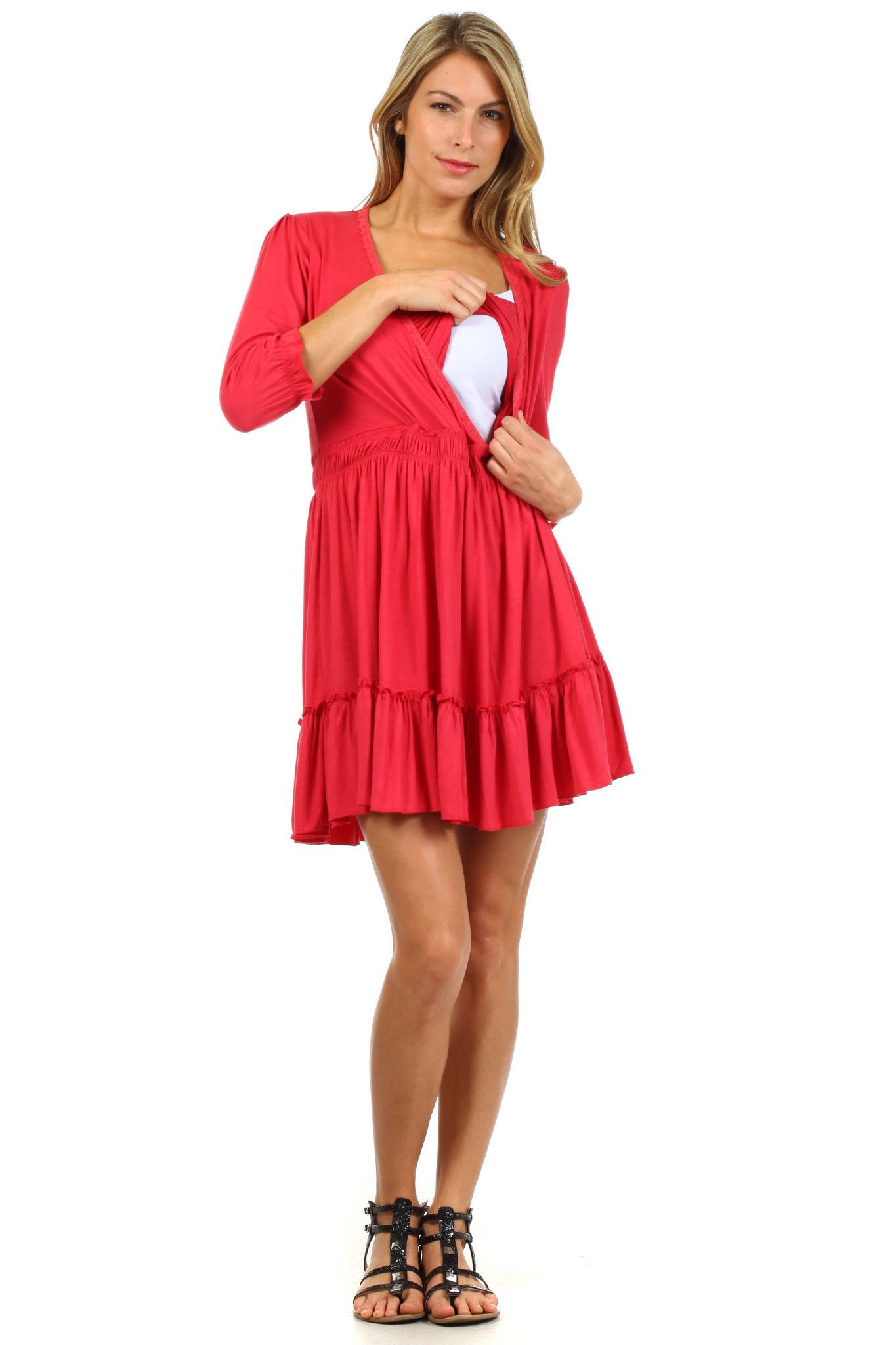 Belle ruffle maternity and nursing dress or long top belle ruffle maternity and nursing dress or long top ombrellifo Image collections
