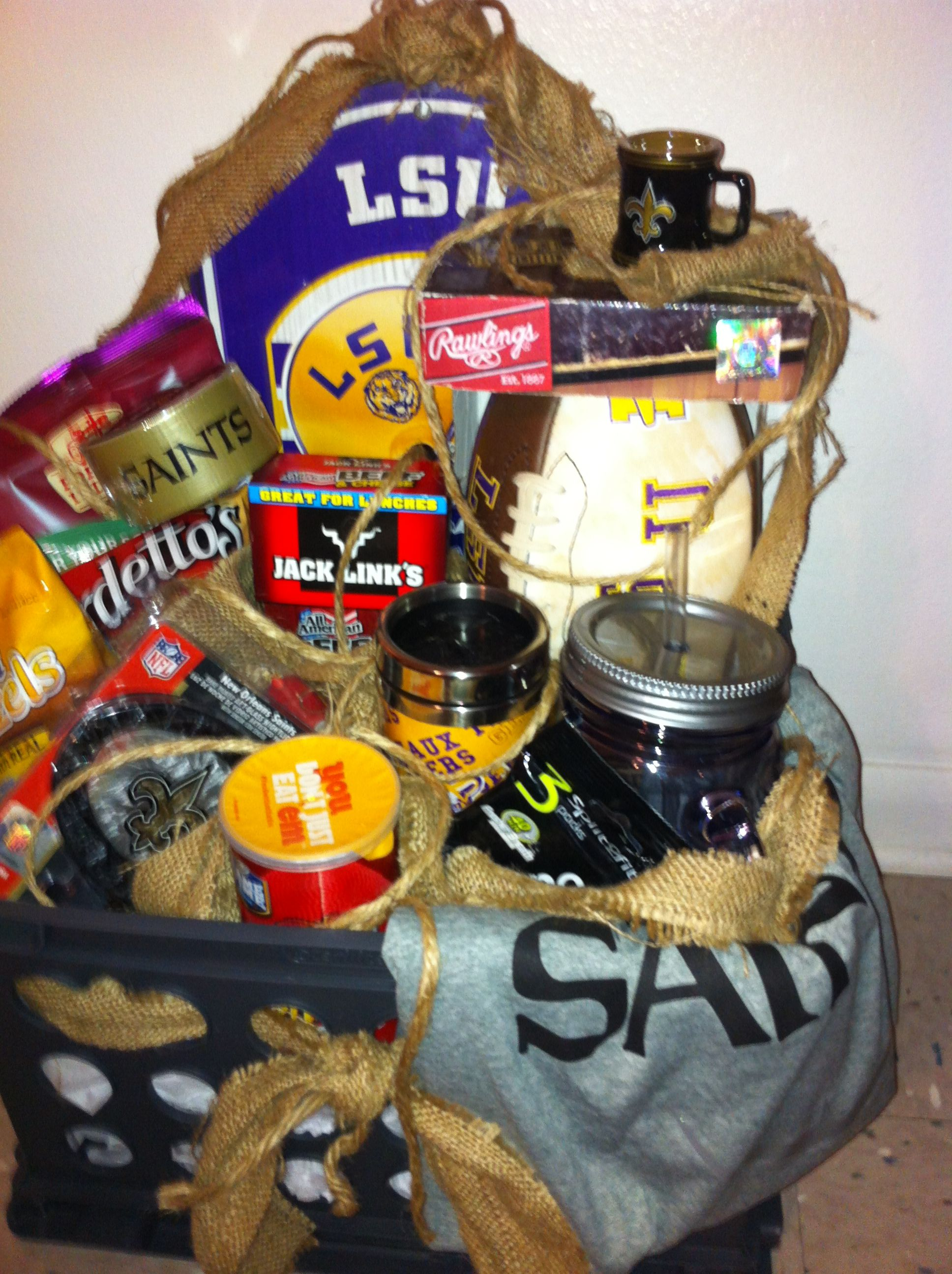 This Basket Was Mixed With Saints Lsu Items And Guy Snacks Lsu Gift Basket Snacks