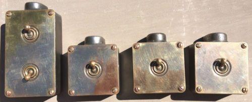 Vintage Antique Single Light Switch Cast Iron Box Brass Plate Brass Toggle Antique Lighting Light Switch Light Switch Covers