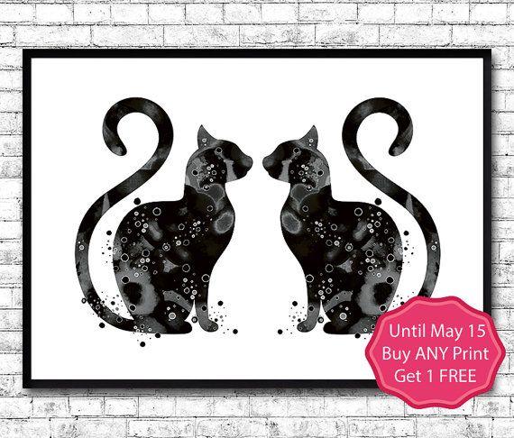 Black Cat's Watercolor Print Fine Art Print Colorful by ArtsPrint