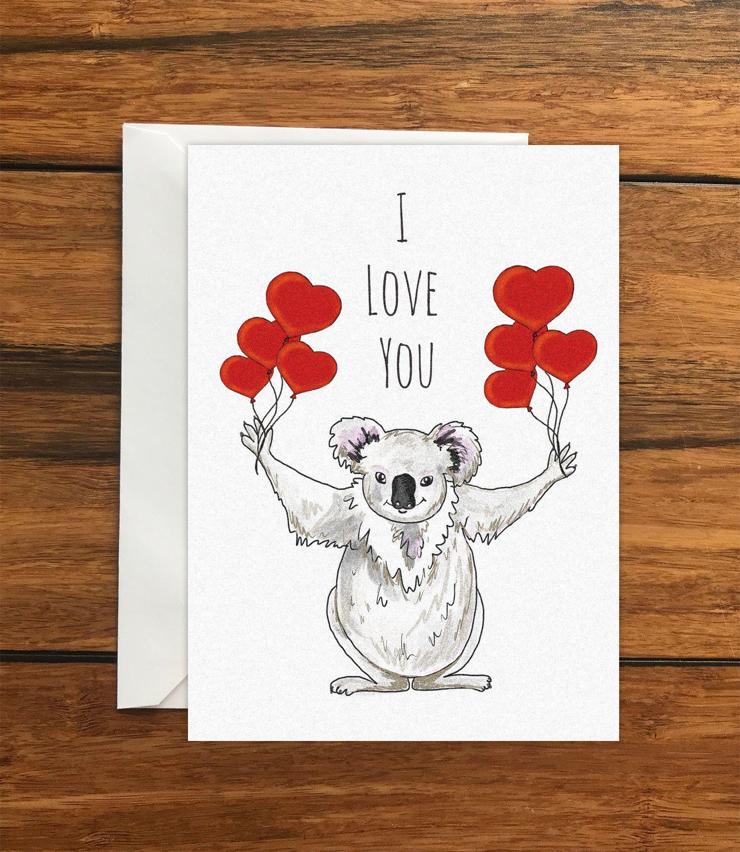 I Love You Koala Blank Original Greeting Card Size A6 Etsy Original Greeting Card Greeting Card Size Greeting Cards