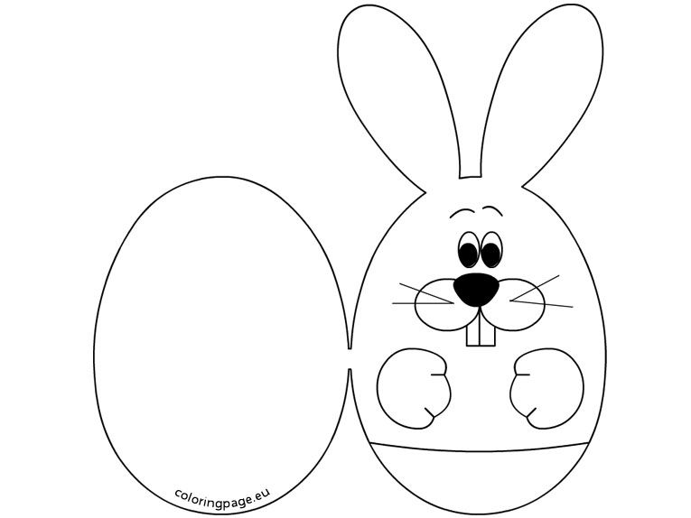 Easter Bunny Card Coloring Easter Bunny Colouring Kids