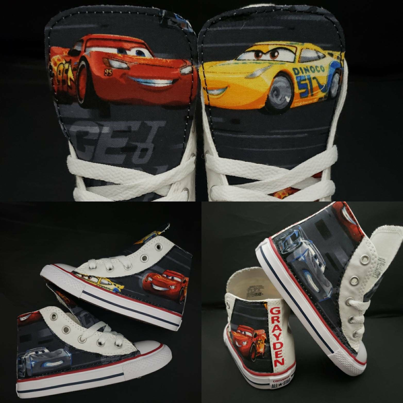 Disney Cars Converse, Cars birthday, lightning McQueen shoes, custom boy shoes, boys party outfit, car sneakers, children by Hallwayzdesigns