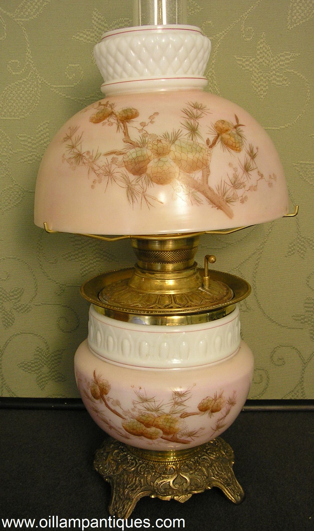 Stencil And Hand Painted Matching Antique Half Shade Parlor Lamp Circa 1895 Oil Lamps Lamp Antique Lamps