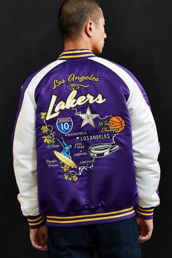 e2bde1fe1f8 Starter X UO NBA Los Angeles Lakers Souvenir Jacket | Men's Jackets ...