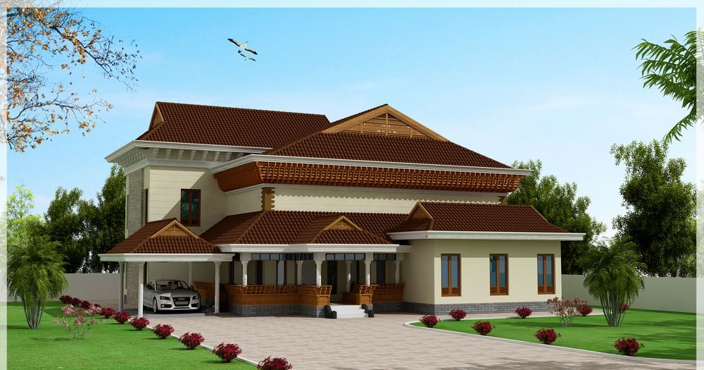 Traditional and beautiful kerala house elevation for Dream home kerala