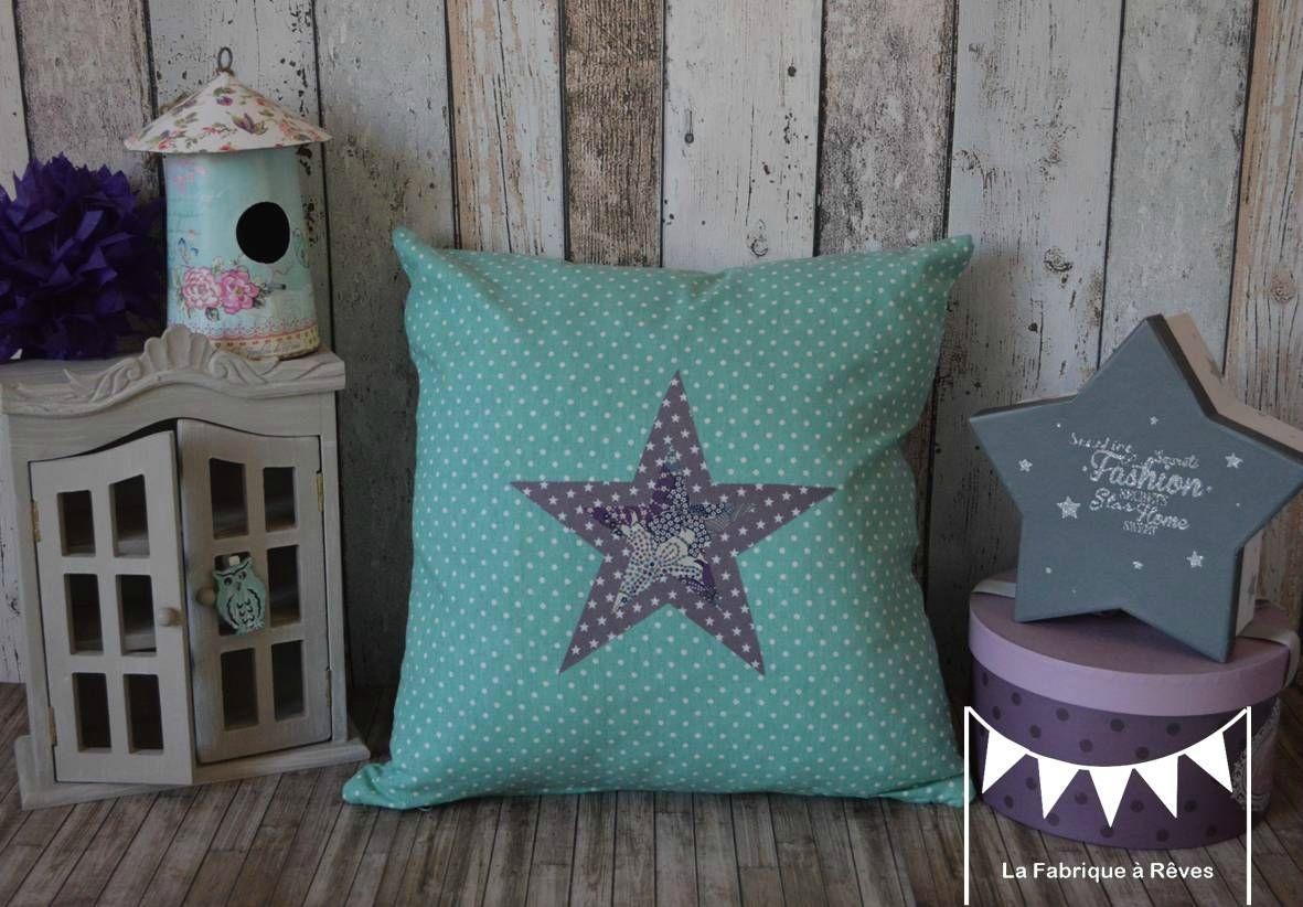housse coussin bleu turquoise gris violet blanc toiles chambre d coration b b enfant fille. Black Bedroom Furniture Sets. Home Design Ideas